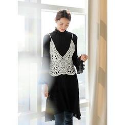 J-ANN - Frill Ribbed A-Line Dress