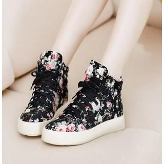 Freesia - Floral High-Top Platform Sneakers