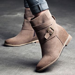 MIAOLV - Genuine Suede Hidden Wedge Short Boots