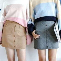 Porta - Buttoned Knit Skirt