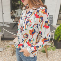WITH IPUN - Open-Placket Floral Pattern Blouse