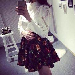 Ringnor - Set: Lace Top + Floral A-Line Skirt