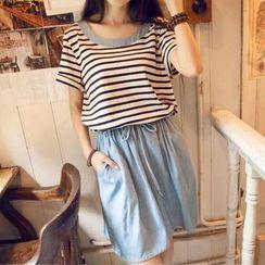 Jolly Club - Short-Sleeve Stripe-Panel Drawstring Dress