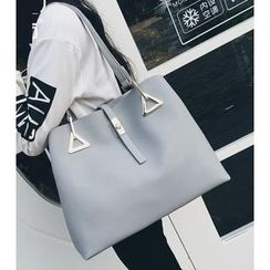 Youshine - Set: Faux Leather Tote + Pouch