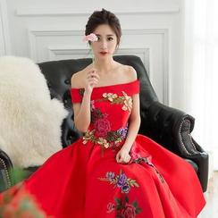 Loree - Floral Off Shoulder A-Line Cocktail Dress