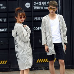 Evolu Fashion - Couple Matching Back Printed Hooded Light Jacket