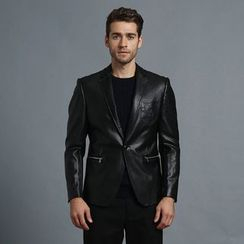 RUYA - Faux-Leather One-Button Blazer