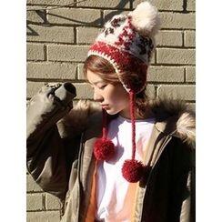 FROMBEGINNING - Pompom Knit Trapper Hat