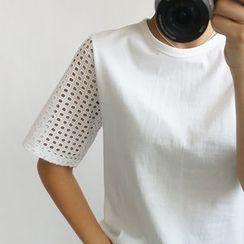 STYLEBYYAM - Perforated Sleeve Round-Neck T-Shirt