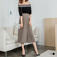 OrangeBear - 素色雪纺垂坠感打褶金属扣腰环七分宽裤裙