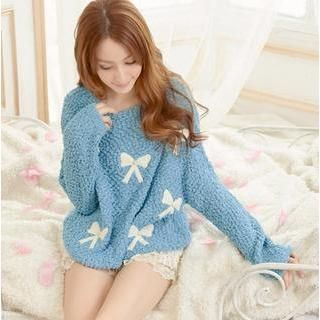Tokyo Fashion - Beaded Bow Print Nubby-Knit Sweater