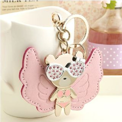 MILESI - Rhinestone Bear Faux-Leather Key Holder