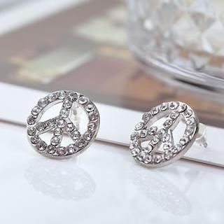 Cuteberry - Rhinestone Peace Symbol Earrings