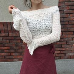 Shiga - Lace Off-Shoulder Bell-Sleeve Top