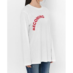 Someday, if - Crew-Neck Lettering Cotton T-Shirt