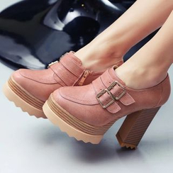 JY Shoes - Buckled Chunky Heel Loafers