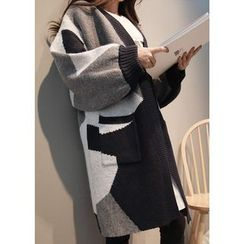 J-ANN - Color-Block Open-Front Cardigan