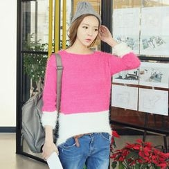 REDOPIN - Color-Block Furry Sweater