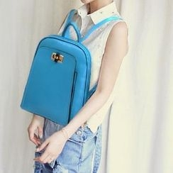 BeiBaoBao - Faux-Leather Twist-Lock Backpack