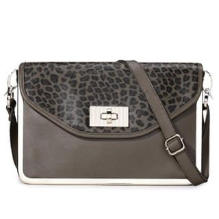 MBaoBao - Genuine-Leather Leopard-Print Cross Bag