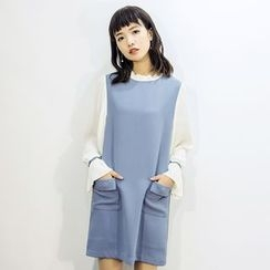 Dimosqisi - Color-Block Long Sleeve A-Line Dress