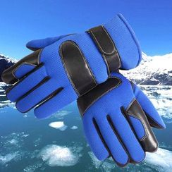 Fow Fow - Faux Leather Panel Sports Gloves