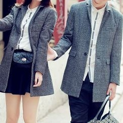Bay Go Mall - Houndstooth Check Couple Matching Blazer