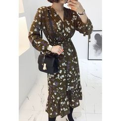 Miamasvin - Wrap-Front Flower Pattern Long Dress