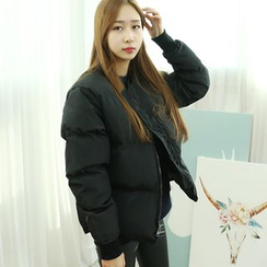 Dodostyle - Collarless Padded Zip-Up Jacket