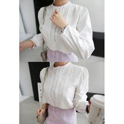 Miamasvin - Collarless Lace-Trim Cotton Blouse