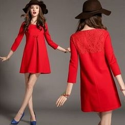 Lovebirds - Elbow-Sleeve Paneled Bow-Accent Dress
