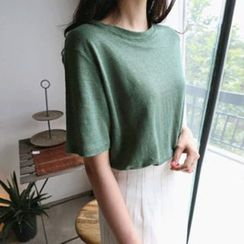 Hello sweety - Round-Neck Linen T-Shirt