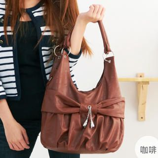 Bow-Accent Shirred Hobo Bag