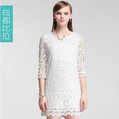 Sentubila - Lace Jacquard 3/4 Sleeves Dress