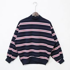 Mr. Cai - Mock-Neck Fleece-Lined Striped Pullover
