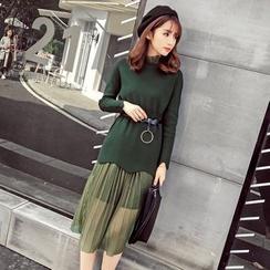 Honeydew - 套裝: 扇邊毛衣 + 百襇下擺蕾絲背心裙