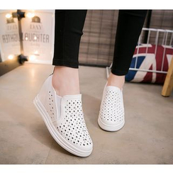 Hannah - Perforated Hidden Wedge Slip-Ons
