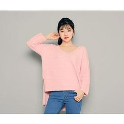 HOTPING - V-Neck Furry-Knit Top