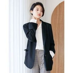 FROMBEGINNING - Notched Lapel Single-Breasted Blazer