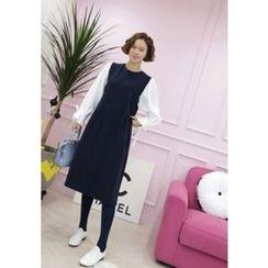 Lemite - Tie-Sleeve Color-Block Shift Dress