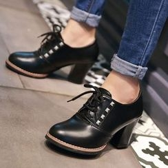 Sidewalk - Studded Chunky Heel Oxfords