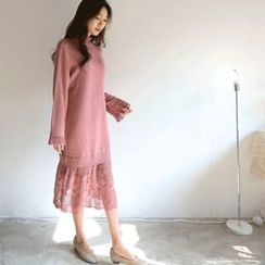 Hello sweety - Eyelet-Lace Trim Knit Dress