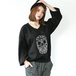 GLAM12 - Skull Print V-Neck Pullover