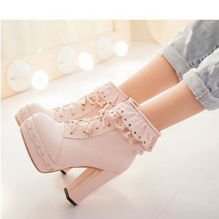 Freesia - Frill Trim Lace-Up Chunky Heel Short Boots (Lolita & cosplay)
