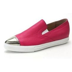 MODELSIS - Metal-Accent Genuine Leather Slip-Ons
