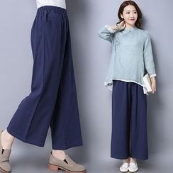 Diosa - Linen Cotton Wide Leg Pants