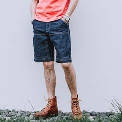 YIDESIMPLE - Stitched Denim Blue Shorts