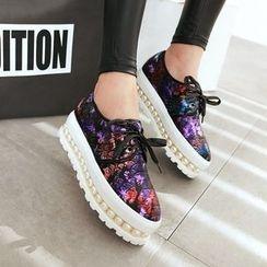 JY Shoes - Embellished Platform Oxfords