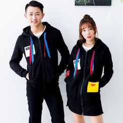 Igsoo - Couple Matching Color Block Zip Hoodie