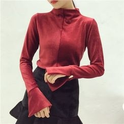 Octavia - Slit Cuff Mock Neck Long-Sleeve Top